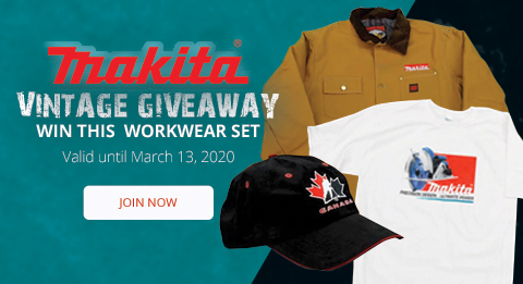 Win this Vintage Makita Workwear Set! Join now at ohcanadasupply.ca!